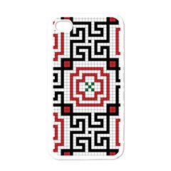 Vintage Style Seamless Black, White And Red Tile Pattern Wallpaper Background Apple Iphone 4 Case (white) by Simbadda