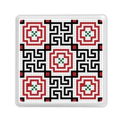 Vintage Style Seamless Black, White And Red Tile Pattern Wallpaper Background Memory Card Reader (square)