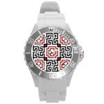 Vintage Style Seamless Black, White And Red Tile Pattern Wallpaper Background Round Plastic Sport Watch (L) Front