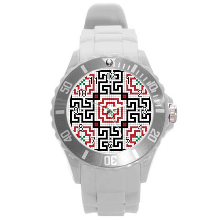 Vintage Style Seamless Black, White And Red Tile Pattern Wallpaper Background Round Plastic Sport Watch (L)