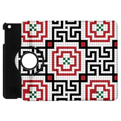 Vintage Style Seamless Black, White And Red Tile Pattern Wallpaper Background Apple Ipad Mini Flip 360 Case