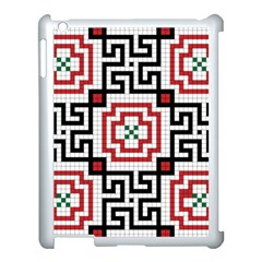 Vintage Style Seamless Black, White And Red Tile Pattern Wallpaper Background Apple Ipad 3/4 Case (white)