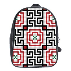 Vintage Style Seamless Black, White And Red Tile Pattern Wallpaper Background School Bags (xl)  by Simbadda