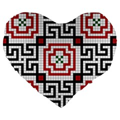 Vintage Style Seamless Black, White And Red Tile Pattern Wallpaper Background Large 19  Premium Heart Shape Cushions by Simbadda