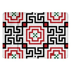 Vintage Style Seamless Black, White And Red Tile Pattern Wallpaper Background Samsung Galaxy Tab 10 1  P7500 Flip Case