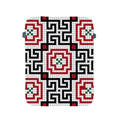 Vintage Style Seamless Black, White And Red Tile Pattern Wallpaper Background Apple Ipad 2/3/4 Protective Soft Cases by Simbadda