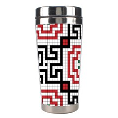 Vintage Style Seamless Black, White And Red Tile Pattern Wallpaper Background Stainless Steel Travel Tumblers by Simbadda