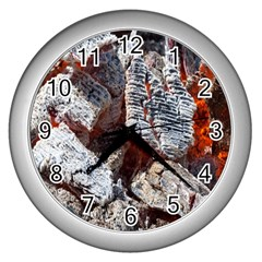 Wooden Hot Ashes Pattern Wall Clocks (silver)