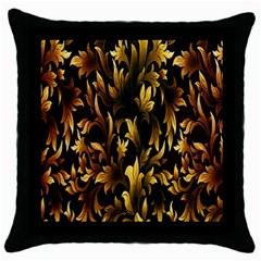 Loral Vintage Pattern Background Throw Pillow Case (black) by Simbadda