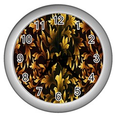 Loral Vintage Pattern Background Wall Clocks (silver)  by Simbadda