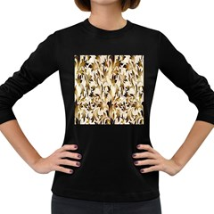 Floral Vintage Pattern Background Women s Long Sleeve Dark T Shirts