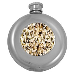 Floral Vintage Pattern Background Round Hip Flask (5 Oz) by Simbadda