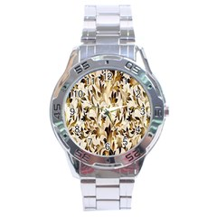 Floral Vintage Pattern Background Stainless Steel Analogue Watch