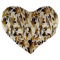 Floral Vintage Pattern Background Large 19  Premium Flano Heart Shape Cushions by Simbadda