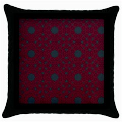 Blue Hot Pink Pattern With Woody Circles Throw Pillow Case (black) by Simbadda
