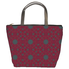 Blue Hot Pink Pattern With Woody Circles Bucket Bags