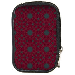 Blue Hot Pink Pattern With Woody Circles Compact Camera Cases by Simbadda