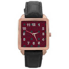 Blue Hot Pink Pattern With Woody Circles Rose Gold Leather Watch