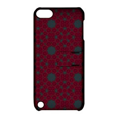 Blue Hot Pink Pattern With Woody Circles Apple Ipod Touch 5 Hardshell Case With Stand by Simbadda