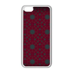 Blue Hot Pink Pattern With Woody Circles Apple Iphone 5c Seamless Case (white) by Simbadda