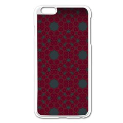 Blue Hot Pink Pattern With Woody Circles Apple Iphone 6 Plus/6s Plus Enamel White Case by Simbadda