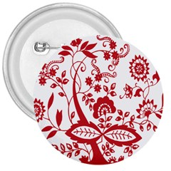 Red Vintage Floral Flowers Decorative Pattern Clipart 3  Buttons