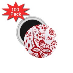 Red Vintage Floral Flowers Decorative Pattern Clipart 1 75  Magnets (100 Pack)
