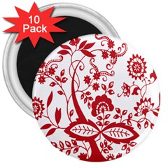 Red Vintage Floral Flowers Decorative Pattern Clipart 3  Magnets (10 Pack)