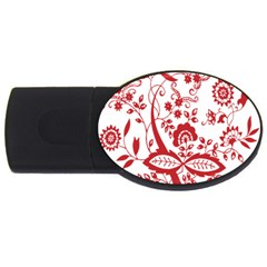 Red Vintage Floral Flowers Decorative Pattern Clipart Usb Flash Drive Oval (2 Gb) by Simbadda