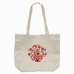 Red Vintage Floral Flowers Decorative Pattern Clipart Tote Bag (cream) by Simbadda
