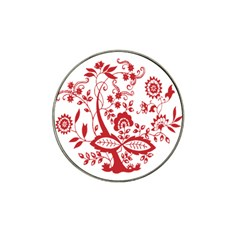 Red Vintage Floral Flowers Decorative Pattern Clipart Hat Clip Ball Marker by Simbadda