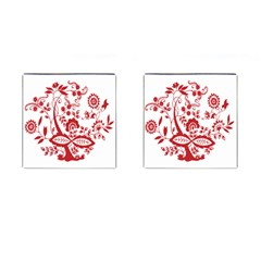 Red Vintage Floral Flowers Decorative Pattern Clipart Cufflinks (square) by Simbadda