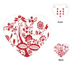 Red Vintage Floral Flowers Decorative Pattern Clipart Playing Cards (heart)  by Simbadda
