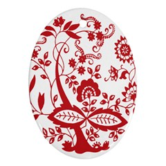 Red Vintage Floral Flowers Decorative Pattern Clipart Oval Ornament (two Sides) by Simbadda