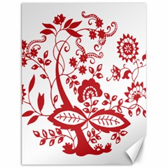 Red Vintage Floral Flowers Decorative Pattern Clipart Canvas 12  X 16