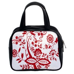 Red Vintage Floral Flowers Decorative Pattern Clipart Classic Handbags (2 Sides) by Simbadda