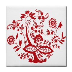 Red Vintage Floral Flowers Decorative Pattern Clipart Face Towel by Simbadda