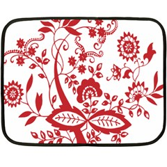 Red Vintage Floral Flowers Decorative Pattern Clipart Double Sided Fleece Blanket (mini)  by Simbadda