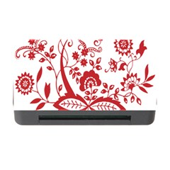 Red Vintage Floral Flowers Decorative Pattern Clipart Memory Card Reader With Cf by Simbadda