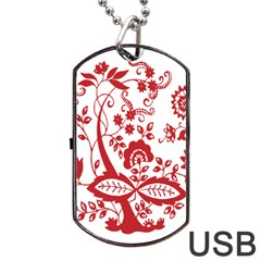Red Vintage Floral Flowers Decorative Pattern Clipart Dog Tag Usb Flash (two Sides) by Simbadda