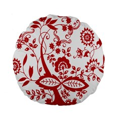 Red Vintage Floral Flowers Decorative Pattern Clipart Standard 15  Premium Round Cushions by Simbadda