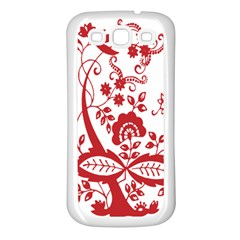 Red Vintage Floral Flowers Decorative Pattern Clipart Samsung Galaxy S3 Back Case (white) by Simbadda
