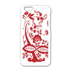 Red Vintage Floral Flowers Decorative Pattern Clipart Apple Iphone 6/6s White Enamel Case by Simbadda