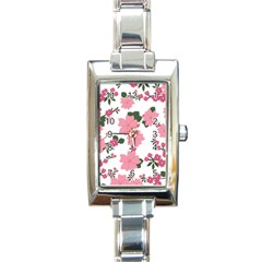 Vintage Floral Wallpaper Background In Shades Of Pink Rectangle Italian Charm Watch by Simbadda