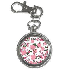 Vintage Floral Wallpaper Background In Shades Of Pink Key Chain Watches by Simbadda