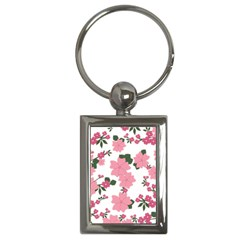 Vintage Floral Wallpaper Background In Shades Of Pink Key Chains (rectangle)  by Simbadda
