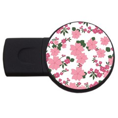Vintage Floral Wallpaper Background In Shades Of Pink Usb Flash Drive Round (2 Gb)