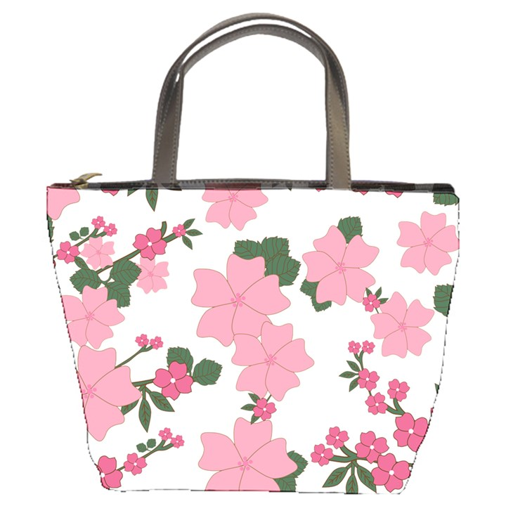 Vintage Floral Wallpaper Background In Shades Of Pink Bucket Bags