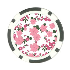 Vintage Floral Wallpaper Background In Shades Of Pink Poker Chip Card Guard (10 Pack) by Simbadda