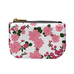 Vintage Floral Wallpaper Background In Shades Of Pink Mini Coin Purses by Simbadda